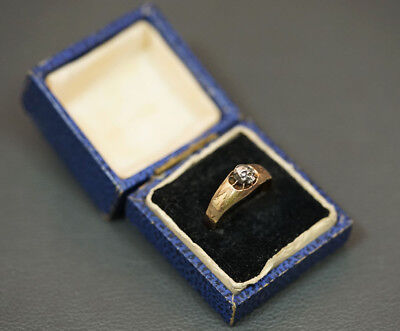 1890 Antique 14k Solid Gold Silver Skull Diamond Eyes Doctor's Physician Ring