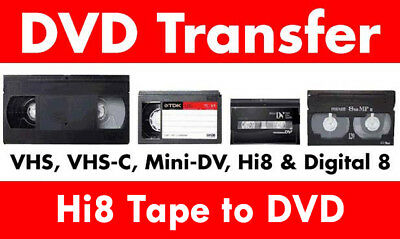 Transfer / Copy Your Hi8 Camcorder Tape's to DVD or MP4 - Fast Service PAL ONLY
