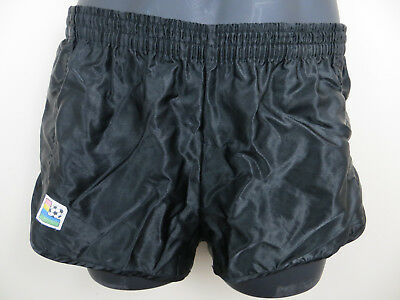 Vintage 80s Shorts Black Running Retro Football Vtg Shiny Nylon Mens 2 Small S