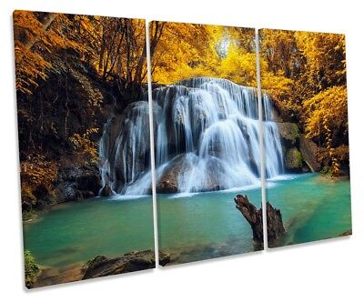 Tropical Forest Yellow Waterfall Picture TREBLE CANVAS WALL ART Print