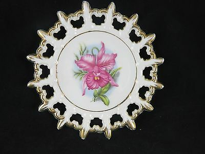 """Napco Fine China - Reticulated - Hand Painted Flower/Floral Plate - 6"""""""