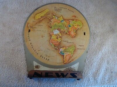 Vintage Replogle Air Age Map Of The World Metal 1953