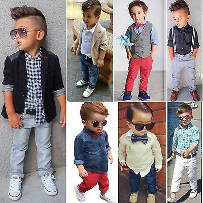 2/3 Pcs Kids Boys Tops Dress Shirt Blazer Coat + Pants Gentleman Party Outfits