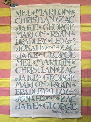 New Emma Bridgewater Tea Towel - Blue Toast Names Writing - discontinued