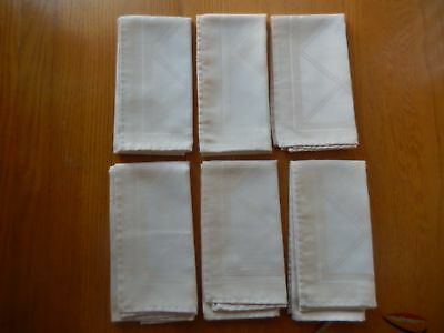 "New Approx. Six 16 3/4"" X 16"" Beige/tan Diamond/rose Pattern Dinner Napkins"