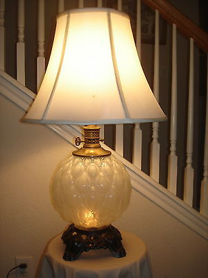 """Vintage 3-Way Large Lamp w/Silk Like Shade Approx. 24"""""""