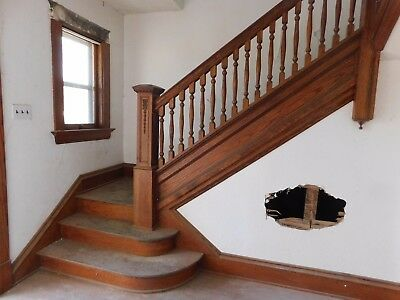 Antique Victorian Style Complete Staircase - C. 1905 Oak Architectural Salvage