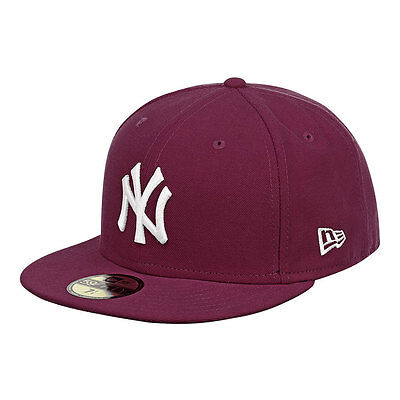 New York Yankees Officially Licenced Maroon MLB New Era 59FIFTY Fitted Cap