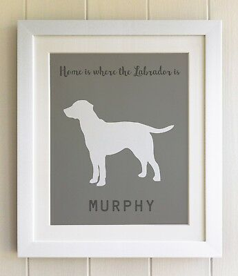 PERSONALISED FRAMED Dog Pet Print, Labrador, 20 Colours opts, Fab Picture Gift