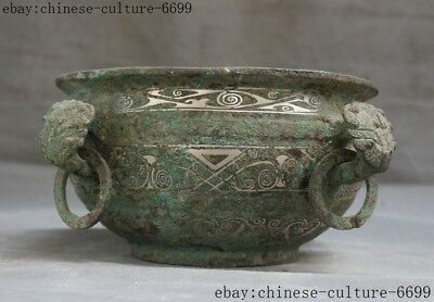 "10""old Chinese silve bronze ware dynasty Beast pattern Tanks Crock pot jar"