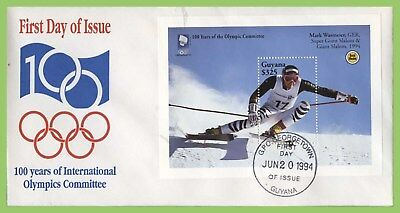 Guyana 1994 Olympics, Giant Slalom miniature sheet First Day Cover
