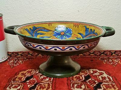 GOUDA vtg holland arts & crafts pottery anjer raised centerpiece pedestal bowl