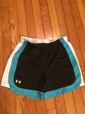 Under Armour Boy's /Girls Black with Blue & White Shorts Size Youth XL Very NICE