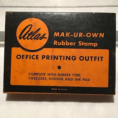 Atlas Mak-Ur-Own Rubber Stamp Kit Office Printing Outfit Vintage in Box