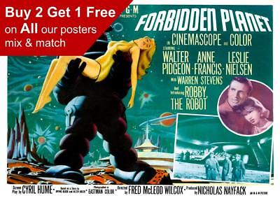 Forbidden Planet Classic Vintage Movie Poster A5 A4 A3 A2 A1