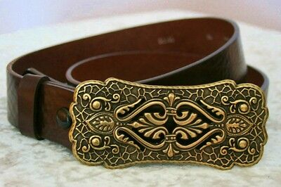 Gothic Medieval Belt Buckle Brass Leather Brown New