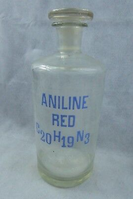 Antique Large Rare Chemist Bottle Hand Blown & Enamel Aniline Red - Apothecary