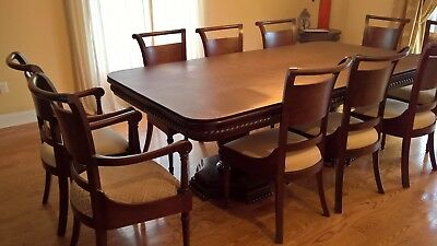 100% Mahogany Wood Dining Room Table with Hand Carved Wooden Inlay, 10 chairs.