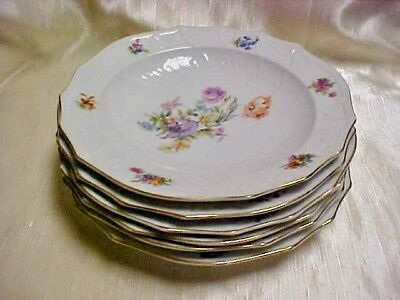 Vintage Pirkenhammer China Czechoslovakia Rococco Floral Bowl Lot of 6 Pieces