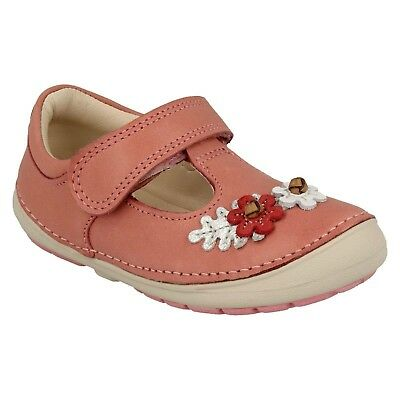 Girls Clarks Softly Blossom Infant Hook & Loop First Walking Shoes Casual Size