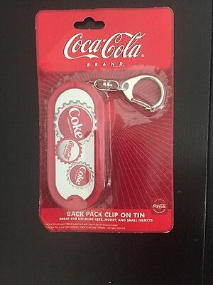 "Coca-Cola Back Pack Clip-On Keychain Tin Storage Box 3 1/2"" Key Money Pills"
