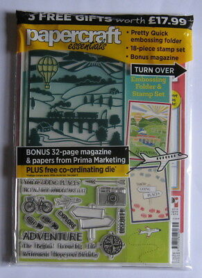 Papercraft Essentials Issue 156 with Going Places Embossing Folder & Stamp Set.