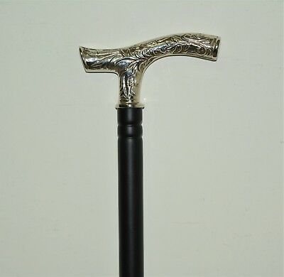 Antique Steel Walking Stick Brass Handle Vintage Stick