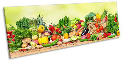 Fresh Vegetables Café Kitchen Picture PANORAMA CANVAS WALL ART Print