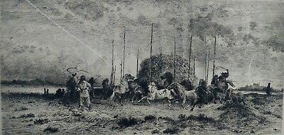 """Peter Moran *Artist Signed* 1882 Etching Titled """"Harvest in San Juan New Mexico"""""""