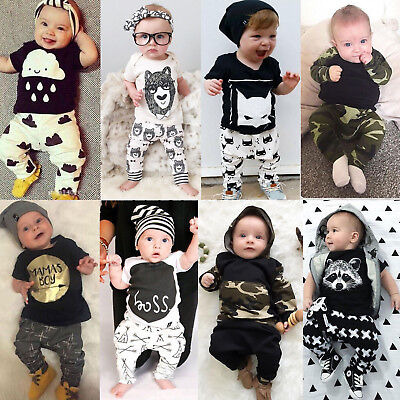 2pcs Newborn Toddler Infant Baby Boy Girls Clothes T-shirt Tops Pants Outfit Set