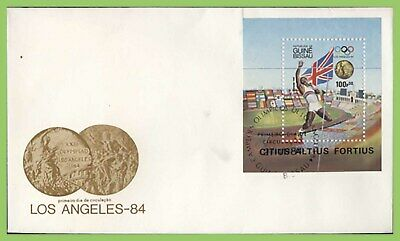 Guinea Bissau 1984 Los Angeles Olympics, Daly Thompson m/s First Day Cover
