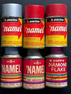 Vintage Pactra 'Namel &Testors Metalflake spray paint cans - lot of 7 Candy