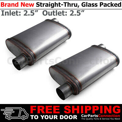 Stainless Steel Straight-Thru Muffler 2.5 inches Offset In//Center Out 200324 x2