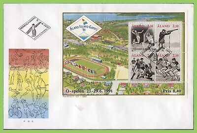 Aland 1991 Small Island Games miniature sheet First Day Cover