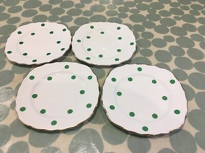 4 Vintage Royal Vale polka dot side plates with green spots.