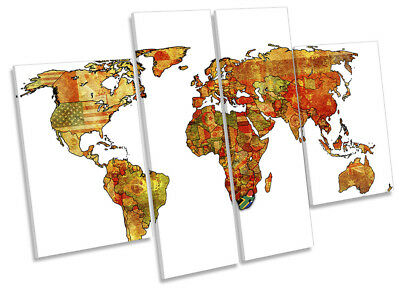 Map of the World Flags Picture CANVAS WALL ART Four Panel