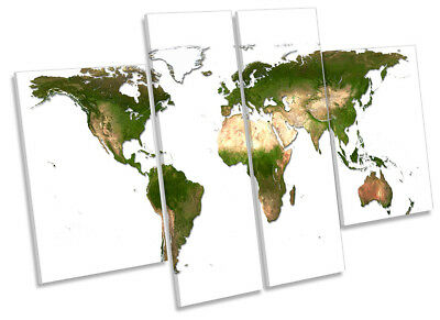 Map of World Picture CANVAS WALL ART Four Panel