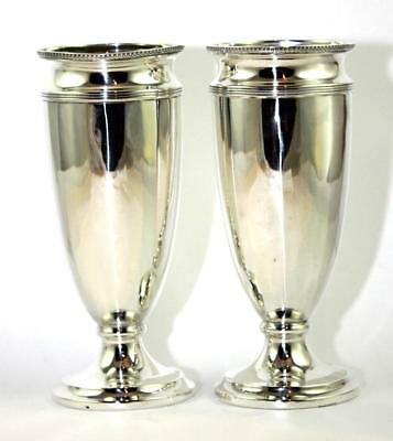 Pair Heavy Antique Sterling Silver Vases, Birmingham 1915, Harrison & Sons, 332g