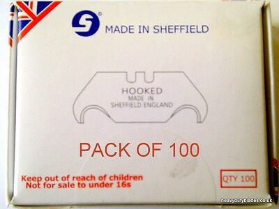 100 Hook Blades Fits Dolphin Delphin Knife  Made In Sheffield. Ind96A.
