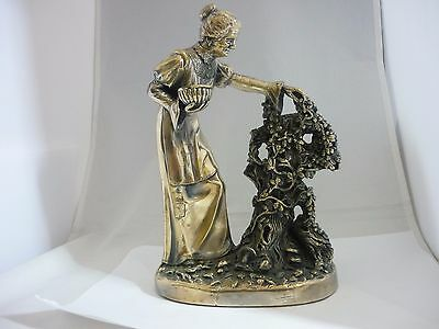Stunning Rare Huge Vintage Hallmarked Silver Old Lady Picking Berries Sculpture
