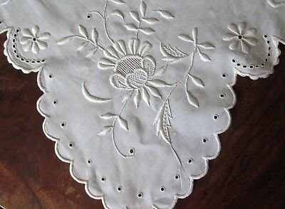 "antique linen tablecloth 93x68"" great hand embr./cutwork flowers 6 nap.s 22"" sq"