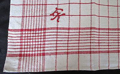 6 unused antique linen torchons or napkins, red/cream check plaid, monogram FK