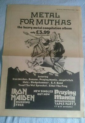 Iron Maiden Promo Ad Size Poster Metal For Muthas Running Free Single Very Rare