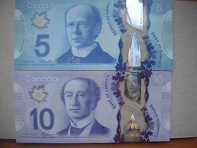 Set of Two  NEW Canadian Uncirculated Polymer  $5 and $10 Banknotes