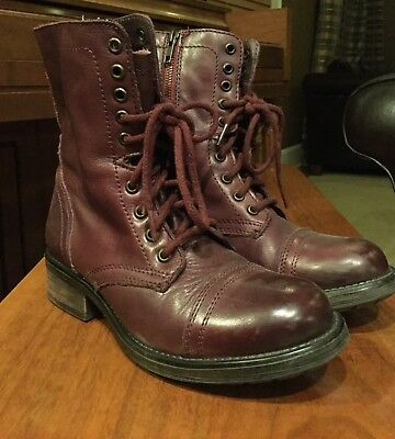333fa5cac7e STEVE MADDEN TROOPA 2-0 Wine Leather Combat Boots Size 8.0 -  30.00 ...