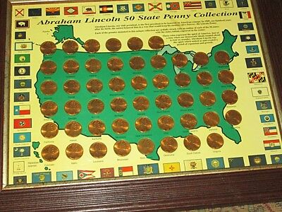Framed Abraham Lincoln 50 Penny Collection - Ea. Coin Embossed W-State & Initial