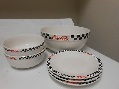Coca Cola Checkered Mixing Bowl, Cereal Bowls & Luncheon Plates