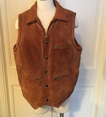 Hipster Suede Leather Vest Sz 44 Puffy Puffer Vintage Western 70s Brown Bermans