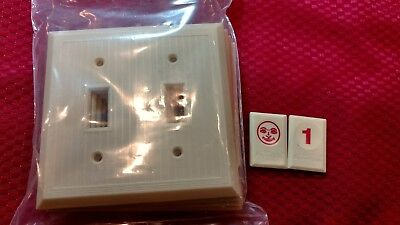 5 NOS Vtg Bakelite Ivory Ribbed Deco 2 gang Double Light Switch Plate Covers RJ1