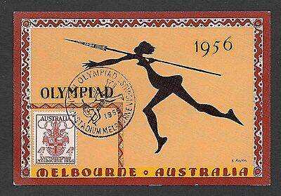 1956 - XVITH OLYMPIAD MELBOURNE - 4d OLYMPIAD STAMP ON POST CARD - POLE VAULT